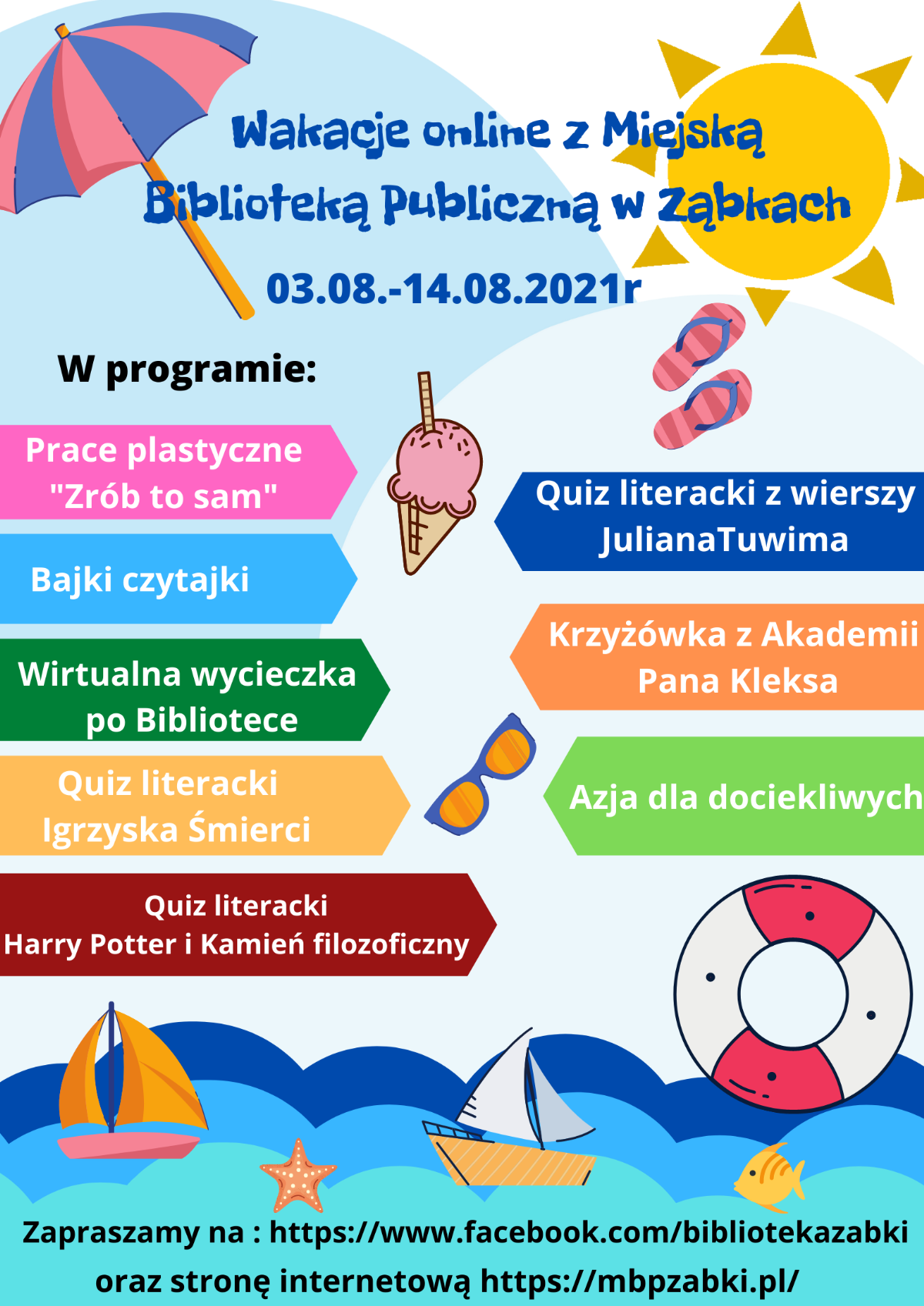Wakacje online z Miejską Biblioteką Publiczna w Zabkach